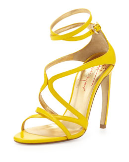 Walter Steiger Strappy Leather Convex-Heel Sandal, Yellow