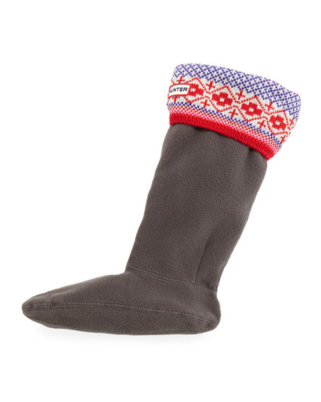Hunter Boot Fair Isle Fleece Welly Socks, Red/Purple