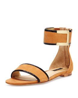Rachel Zoe Gracie Ankle-Strap Flat Sandal, Natural