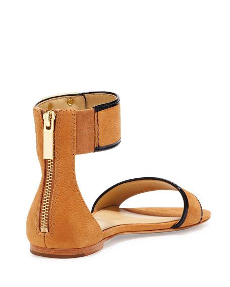 Gracie Ankle-Strap Flat Sandal, Natural
