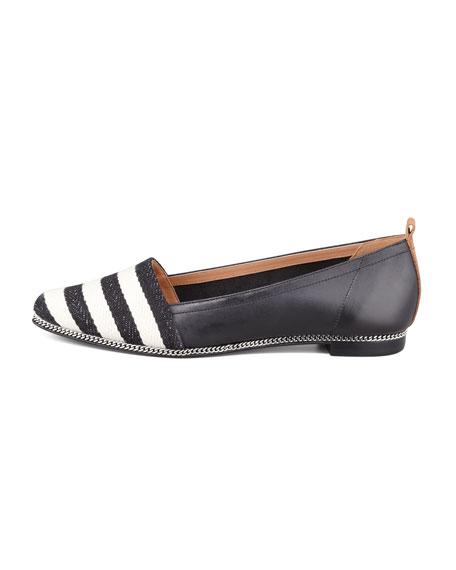 Tyler Striped Leather Flat, Black/White