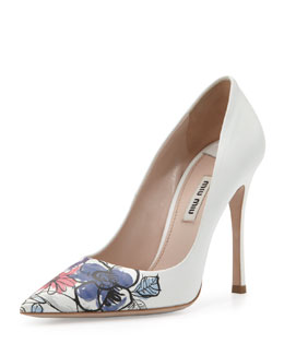 Miu Miu Floral Point-Toe Pump
