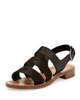Miu Miu Triple-Strap Flat Sandal, Brown