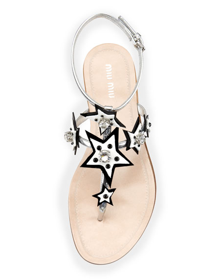 Stars Ankle-Wrap Thong Sandal