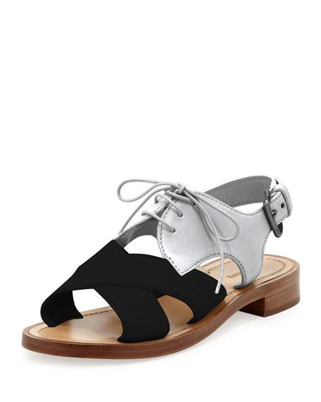 Crisscross Lace-Up Combo Sandal