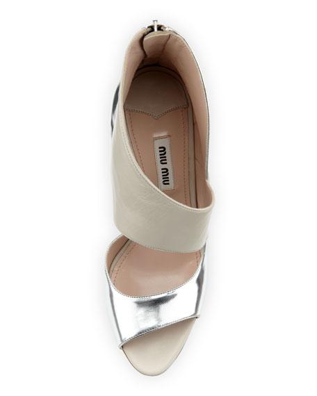 Asymmetric Half-d'Orsay Sandal, White/Silver