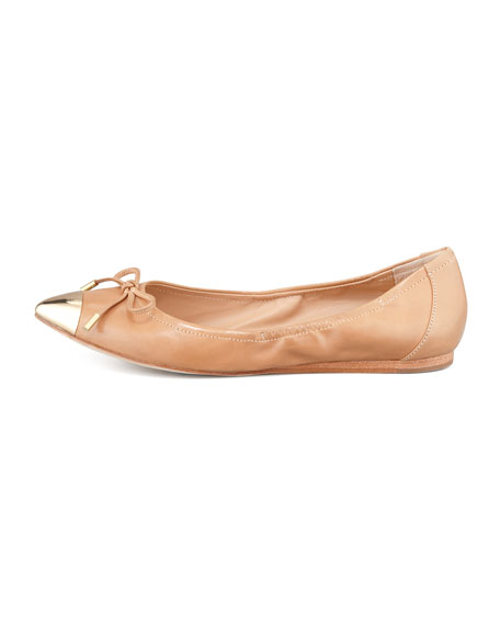 Chelsie Point-Toe Ballet Flat, Camel