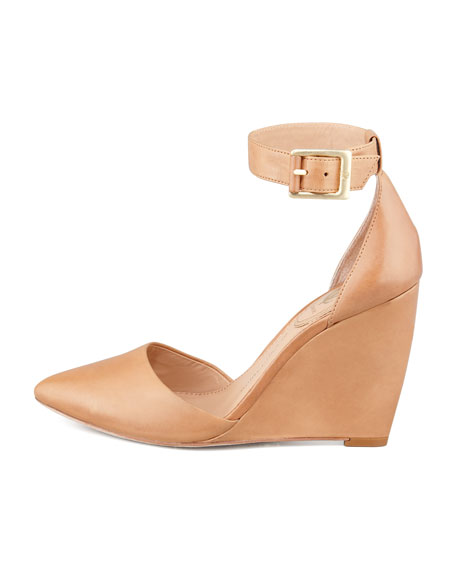 Solanna Pointy-Toe Ankle-Strap Wedge, Camel