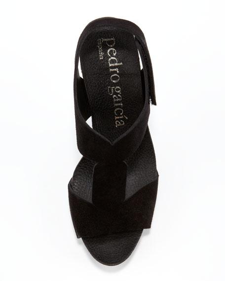Lea Suede T-Strap Sandal, Black