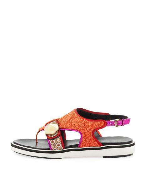 Flat Rubber-Sole Mixed-Fabric Sandal, Orange