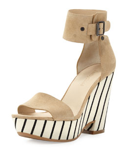 See by Chloe Striped-Wedge Ankle-Wrap Sandal