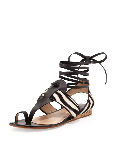 Zebra-Print Calf Hair Ankle-Wrap Sandal