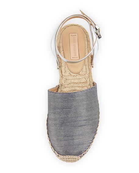 Metallic Ankle-Wrap Espadrille Flat