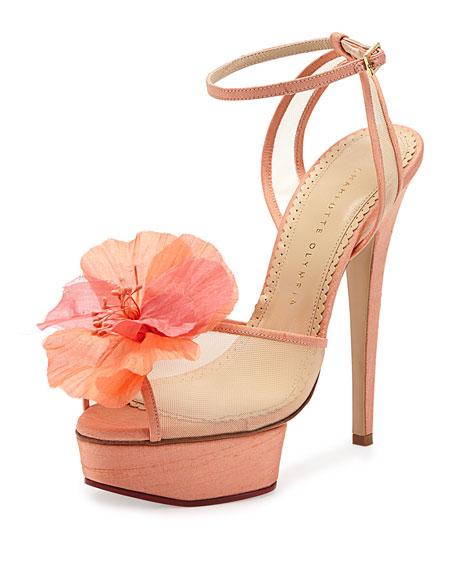 Leila Flower Platform Sandal, Peach