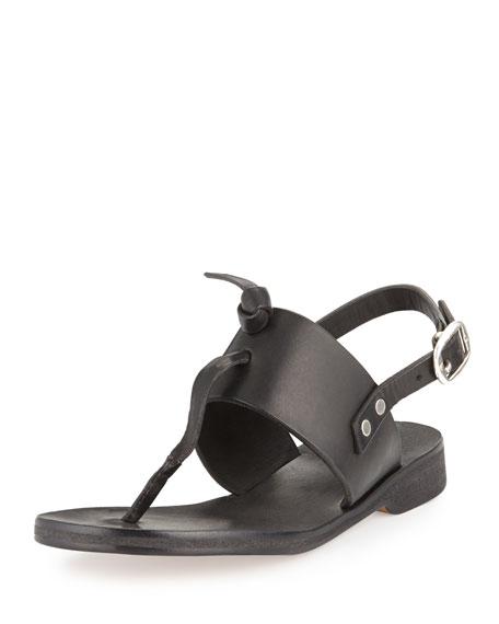 Quinn Knotted Flat Sandal, Black