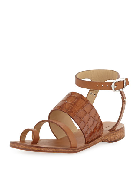 Chartan Croc-Embossed Leather Strappy Sandal, Tan