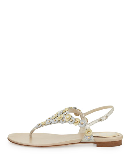 Pearly Embroidered Thong Sandal, Platino