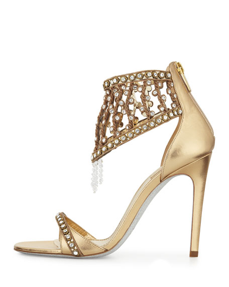Metallic Crystal Cage Sandal, Gold