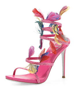 Rene Caovilla 80th Anniversary Glittery Feather Ankle-Wrap Sandal