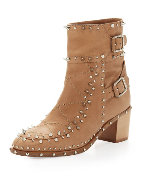 Studded Ankle Boot, Beige