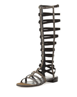 Stuart Weitzman Gladiator Tall Glitter Fabric Sandal, Pyrite (Made to Order)