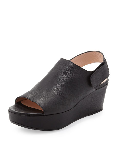 Stuart WeitzmanOffset Leather Peep-Toe Wedge, Black