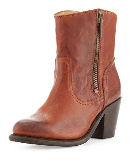 Leslie Leather Zip Bootie, Whiskey