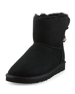 UGG Australia Mini Bailey Striped Bow-Back Boot, Black