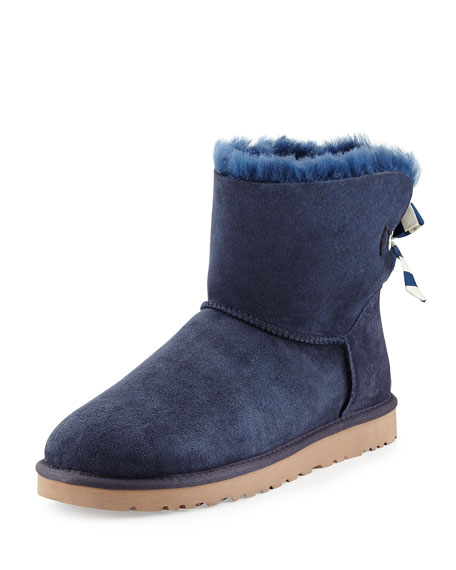 Mini Bailey Striped Bow-Back Boot, Navy