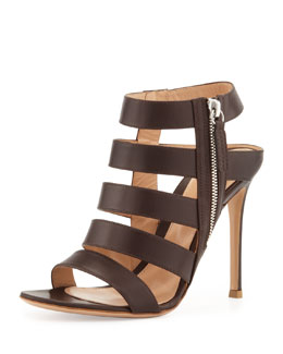 Gianvito Rossi Ladder-Strap Leather Open-Toe Bootie, Dark Brown