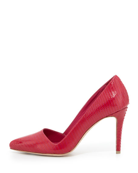 Dina Lizard-Embossed Pump, Hot Pink