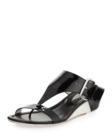 Doli Buckled Demi-Wedge Slide, Black