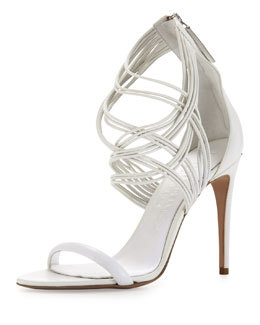 Burberry Strappy Leather High-Heel Sandal, White