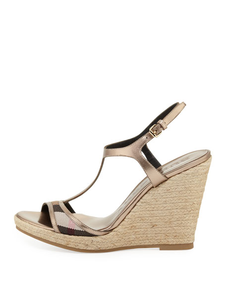 Check-Front Metallic Wedge Sandal, Pale Gold