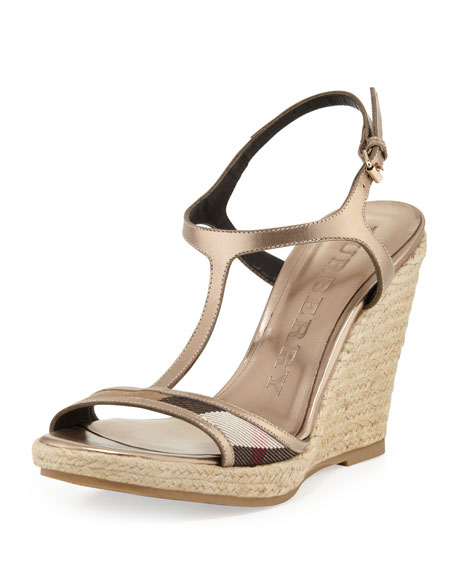 Burberry Check-Front Metallic Wedge Sandal, Pale Gold