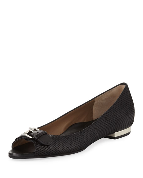 Erica Printed Suede Peep-Toe Flat, Black