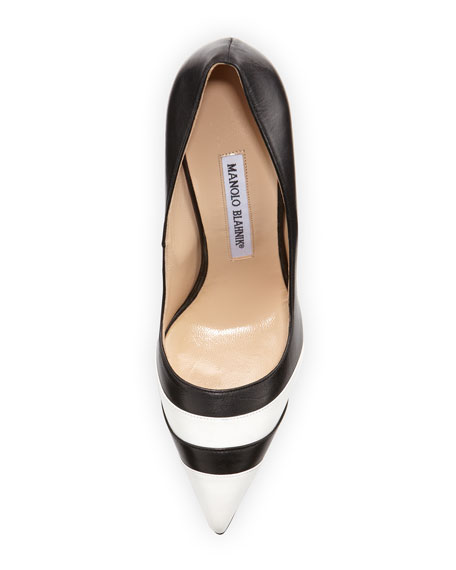 Manolo Blahnik Bicolor Point-Toe Pump, Black/White