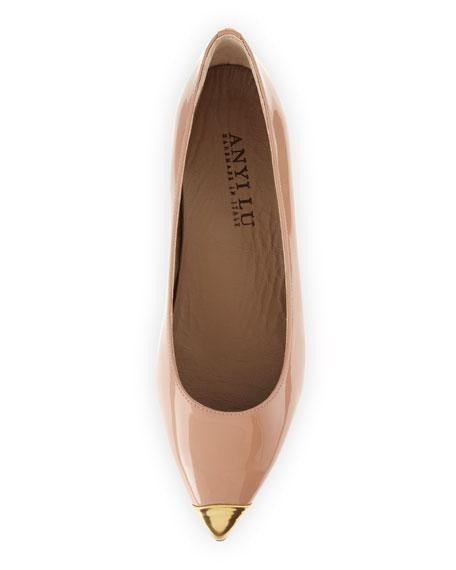 Delphine Patent Cap-Toe Flat, Bisque