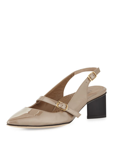 Gigi Patent Mary Jane Slingback Pump, Latte