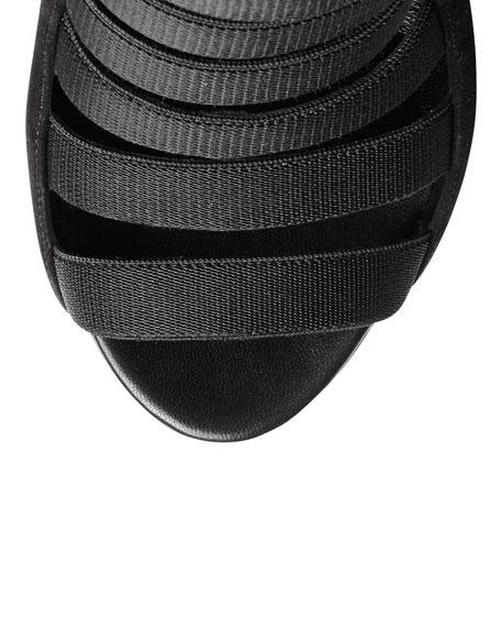 Gucci Olimpia Elastic Ladder Strap Bootie, Black