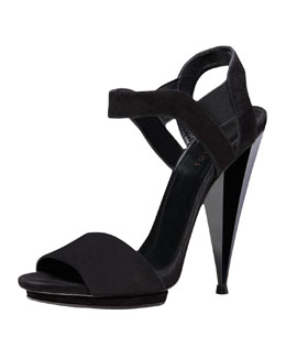 Gucci Liberty Suede Architectural Sandal, Black