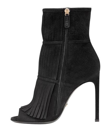 Gucci Becky Fringe Ankle Boot, Black