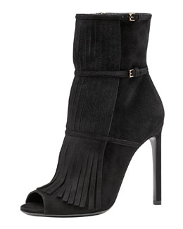 Gucci Becky Fringe Ankle Boot, Black