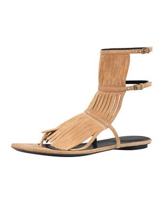 Gucci Becky Fringe Thong Sandal, Camelia