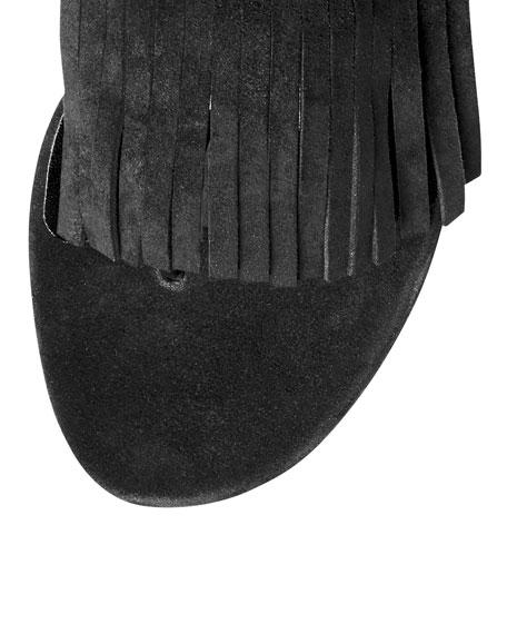Becky Fringe Thong Sandal, Black