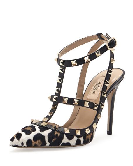 Rockstud Calf Hair Slingback Sandal, Leopard