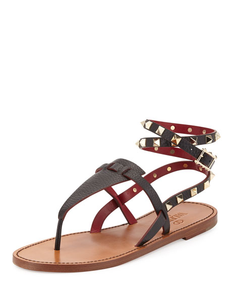 Rockstud Ankle-Wrap Thong Sandal, Black