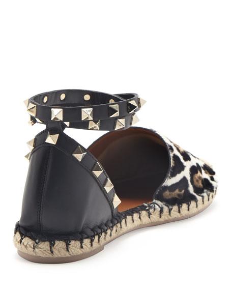 Rockstud Calf Hair Espadrille Flat, Leopard