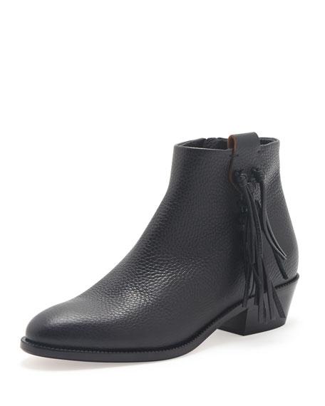 Side-Fringe Leather Ankle Boot