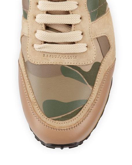 Rockstud Camo-Print Sneaker, Taupe
